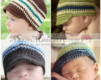 Newborn Baby Hat, Choose Your Color, Boy Hat, Baby Boys Hat, Stripes Hat, Newsboy, Custom Hat, Hat for Boys, Hat with Brim, Winter Hat