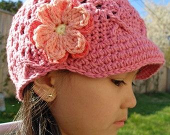 Girls Hat, Crochet Hat, Kids Hat, newsboy hat, newsgirl hat, Pink Hat, Flower Beanie with Brim, Free US Shipping