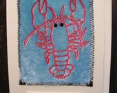 BE MY LOBSTER Blank Greeting Card red and blue velvet with Swarovski crystal eyes Mate for Life