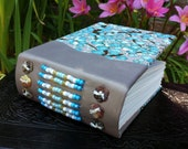 BLUE PLUM BLOSSOM Blank Art Journal Japanese Chiyogami Paper Cover with Beaded Leather Spine