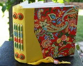PAISLEY Colorful Blank Art Journal Japanese Yuzen Paper Cover and Lemon Yellow Leather Beaded Spine Built in Bookmark