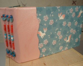 RABBIT Art Journal Beaded Pink Leather Spine and Fabric from Japan Blank Book