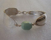 Spoon Bracelet Recycled Silverware White Orchid Amazonite Nugget Made to Order