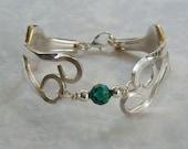 Fork Bracelet  Recycled Silverware Swarovski Crystal Birthstone Colors or Sterling Beads