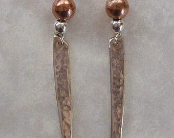 Silver Fork Tine Earrings Recycled Silverware Sterling and Copper Beads