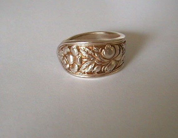 Silver spoon ring recycled spoon ornate rose pattern custom - Handmade gs silverware ...