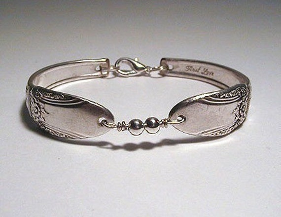 Silver Spoon Bracelet Recycled Spoons Sterling Beads First Love Made to Order