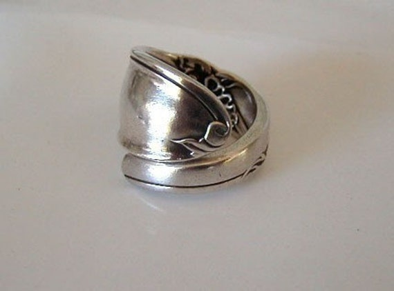 Spoon Ring Recycled Silverware Jewelry White Orchid Sidewinder Style Made to Order