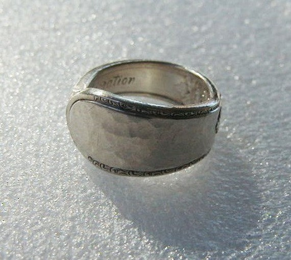 Silver Spoon Ring Reycled Silverware Jewelry Adoration Hammered Made to Order