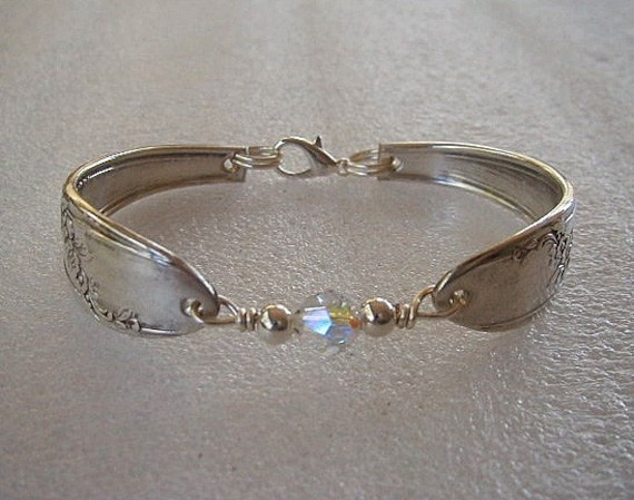 Silver Spoon Bracelet Recycled Queen Bess Swarovski Birthstone Crystal Sterling Beads Made to Order