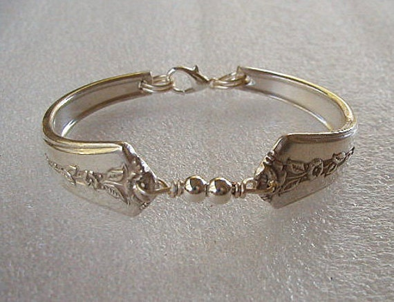 Spoon Bracelet Recycled Silverware Jewelry Spring Garden Sterling Beads Made to Order