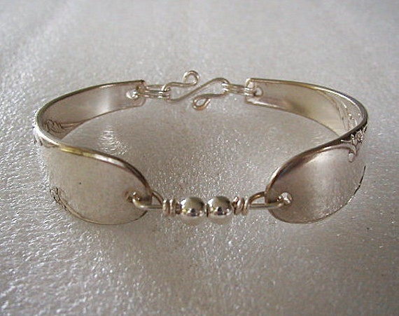 Spoon Bracelet Recycled Bridal Wreath Sterling Silver  Beads Size 7 Ready to Ship