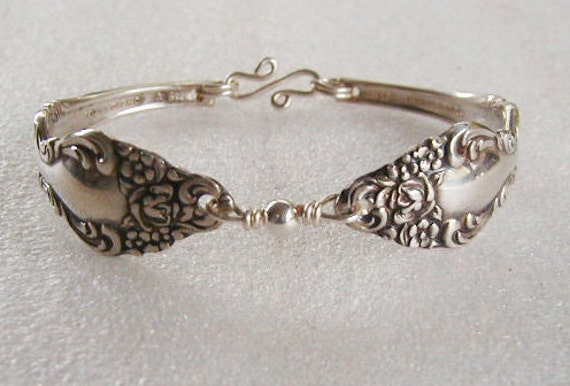 Spoon Bracelet Spoon Jewelry Recycled Silverware Sterling Bead Made to Order in Your Size