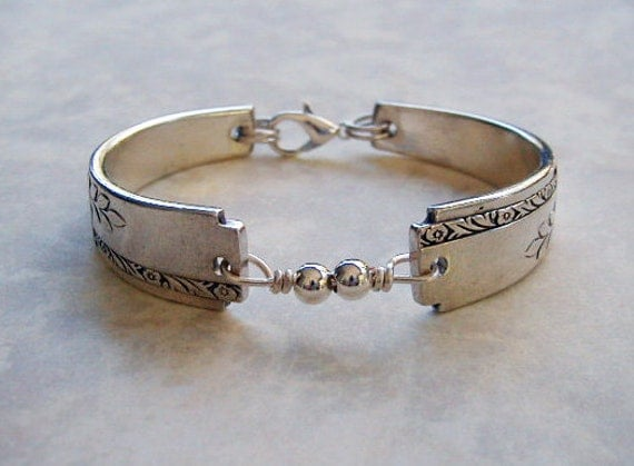 Silver Spoon Bracelet Recycled Silverware Jewelry Grenoble Sterling Beads Made to Order
