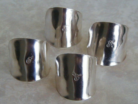 Silver Spoon Bowl Napkin Rings Set of Four Personalized Monogram Recycled Silverware