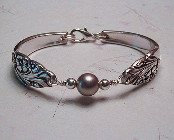 Spoon Bracelet Recycled Silverware Jewelry Swarovski Pearl Sterling Beads Evening Star Made to Order