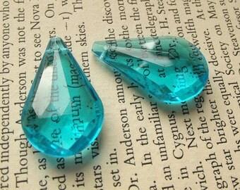 Vintage faceted blue lucite drops