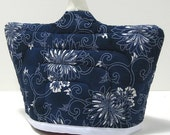 Navy Blue Flowered Tea Cozy - Small