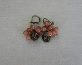 Smokey Topaz and Rhodochrosite earrings