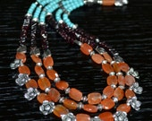 Red chalcedony, garnet and turquoise multistrand necklace