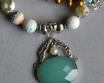 Green agate and Chrysoprase pendant - ON SALE