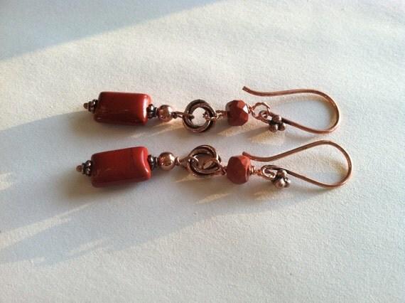 Red brick earrings