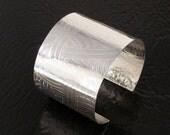 Fine Silver Cuff Bracelet - Bold with Art Deco Pattern