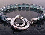 Sterling Silver Bracelet - Teal Blue Mystic Quartz with Toggle Clasp