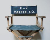 Vintage Directors Chair, Blue Canvas Folding Chair,  Full Adult Size