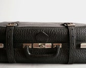 1920 Luggage, Black Leather  Suitacase