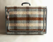 Blue Plaid Soft Side Suitcase