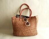 Sisal Tote Bag, Large Beach Bag, Needlework Basket, Market Tote