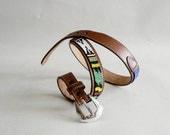 Women's Beaded Tribal Belt,  Narrow Brown Leather Belt, Size Medium