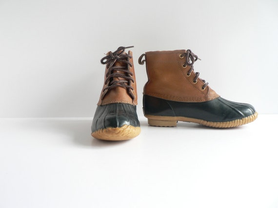 V I N T A G E  Tan Leather and Blue Rubber Duck Boots, Women's Size 9