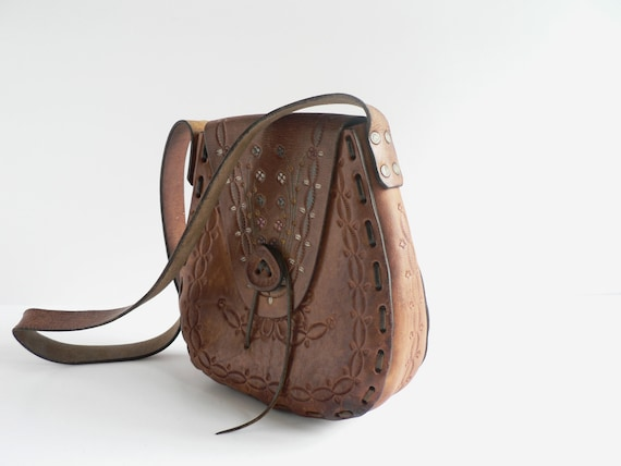 1970s Western Saddle Bag, Brown Tooled Leather