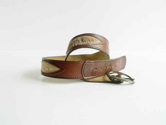 Vintage Unisex Brown Leather Belt Size 32