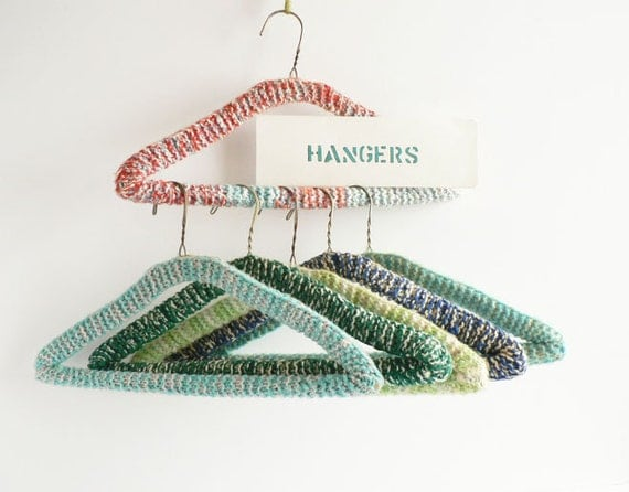 Set of Six Clothes Hangers, Yarn Covered Closet Hangers