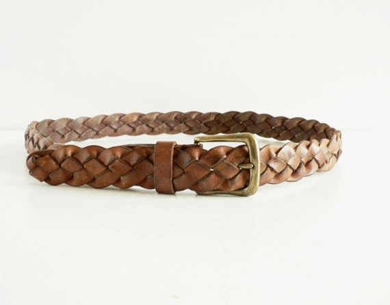 s braided leather belt brown woven belt size 36 38