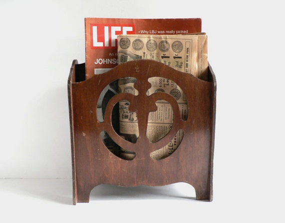 1920s Art Nouveau Wood Magazine Rack