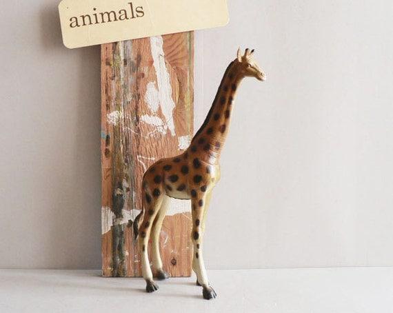 Toy Giraffe, 1980s Plastic Zoo Animal
