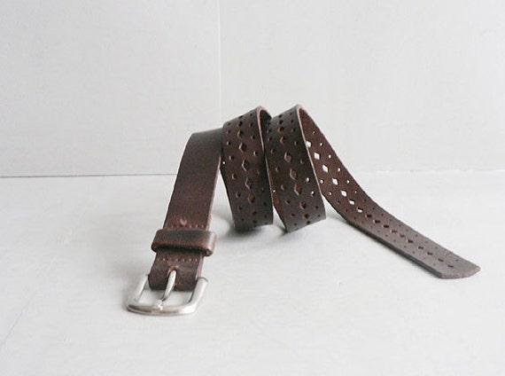 Women's Vintage  Narrow Brown Leather Belt