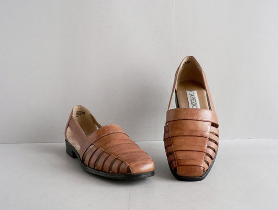 Women's Tan Leather Woven Huarache Flats Size 8 1/2
