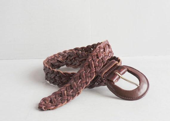 Women's Vintage Woven Belt, Brown Braided Leather Belt Size L