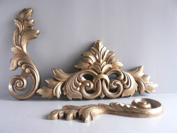 Reserved for Stefeni Vintage Hollywood Regency Gold Wall Sconces Set