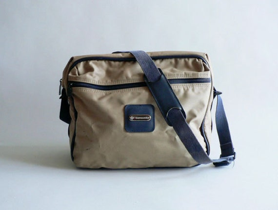 Tan and Navy Messenger Bag / Camera Bag By Samsonite