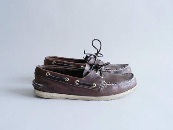Mens Brown Leather Deck Shoes by Sperry Topsider , Boat Shoes Size 9 1/2 M