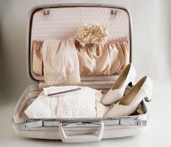 White Samsonite Suitcase Set of Two,  1960s Samsonite Silhouette