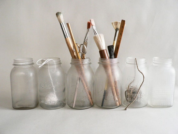 Vintage Frosted Clear Canning Jars, Set of Six