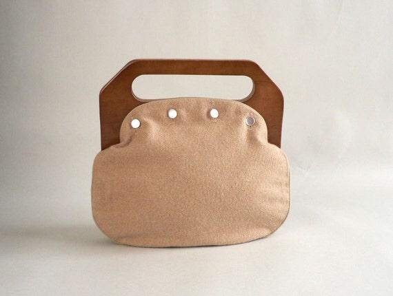Vintage Wood Handle Purse, 1970s Style Women's Handbag