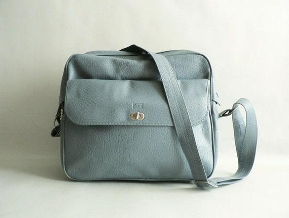 Blue Weekender/Messenger Bag, Travel Shoulder Tote